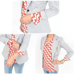 Another way to wear tab sleeves is to pair with a blazer!  To reduce bulk in the arm, unroll the sleeve completely and re-cuff over the sleeve of the blazer for a polished finished style.  #tabsleeve #style #blazer