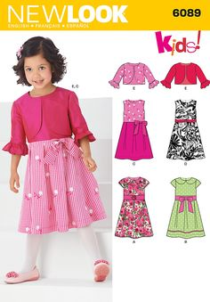 Simplicity : 6089  Spring 2013   Child's sleeveless special occasion dress with trim and collar variations and bolero jacket. New Look sewing pattern. Size A (3,4,5,6,7,8)