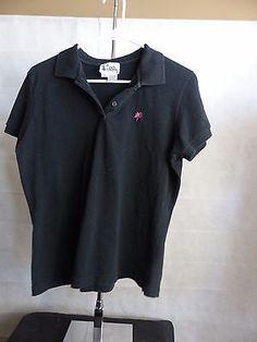 LILLY PULITZER Black STRETCH Short Sleeve POLO SHIRT Size Large