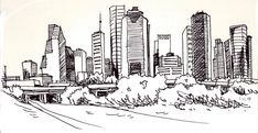 Houston skyline Ink on paper Skyline Tattoo, City Skyline Art, Houston Skyline, Skyline Painting, Custom Painted Shoes, H Town, Sketchbook Ideas, Artworks, Art Drawings