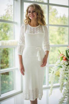 """Купить Платье """"Ajour White"""" - белый, однотонный, ажурное платье, нарядное платье, белое платье"""