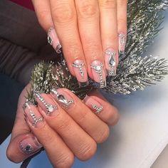 Evening nails, Exquisite nails, Festive nails, Long nails, Luxurious nails, Luxury nails, Nails with rhinestones ideas, Original nails
