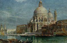 Basilica di Santa Maria della Salute from the Grand Canal by Edward Angelo Goodall, Watercolor