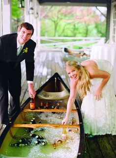 Ice off beer in a canoe. What a great idea whether it's part of a coastal or lakeside wedding reception or a summer BBQ. And how cute is this couple?! All included in the new wedding book: Southern Living Wedding Planner and Keepsake.