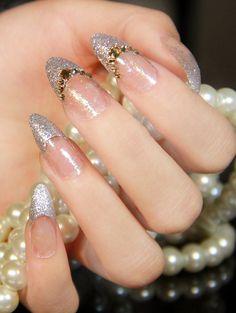 .New-2014-French-wedding-glitter-silver-3d-rhinestone-nails