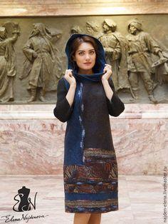Купить платье сарафан - комбинированный, платье, сарафан, сарафан валяный, платье сарафан, шерсть