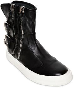 391369a195c Giuseppe Zanotti - Black Leather Double Zip High Top Sneakers for Men - Lyst
