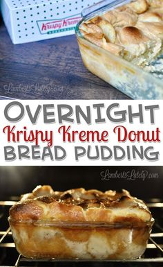 Overnight Krispy Kreme Donut Bread Pudding features leftover donuts baked in a rich custard to make a delicious breakfast or brunch dessert! This easy recipe puts a homemade twist on classic doughnuts. Krispy Kreme Bread Pudding, Custard Bread Pudding, Best Bread Pudding Recipe, Pudding Recipes, Bread Puddings, Krispy Kreme Donut Cake, Crockpot Dessert Recipes, Crock Pot Desserts, Donut Recipes