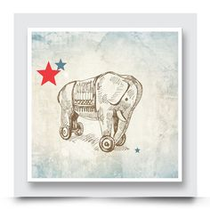 ROLLING TOY ELEPHANT wall art which comes printed on stretched canvas or box framed, can live on its own, however really compliments the other designs in the Vintage Toys Collection. Personalise & order your art print from http://www.madicleo.com/collections/wall-art-for-boys-rooms