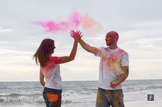 Super Cool Holi Powder Engagement High Five | © Favorite Photography