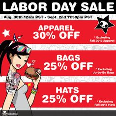 We're getting ready for our Labor Day Weekend Sale! We'll have 30% off select Apparel and 25% off select Bags & Hats starting tonight on our Online Shop at 12am PST and at our Melrose Store at 11am PST. Certain exclusions apply, see our sale page here for more details: http://www.tokidoki.it/shop/sale