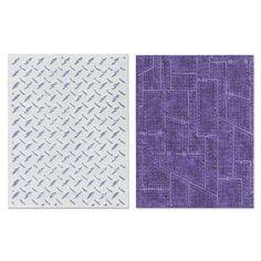 Sizzix.com - Sizzix Texture Fades Embossing Folders 2PK - Diamond Plate & Riveted Metal Set