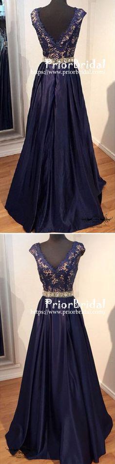 Long Blue V-neck A-line Elegant Lace Evening Party Formal Cocktail Prom Dress,PD0176