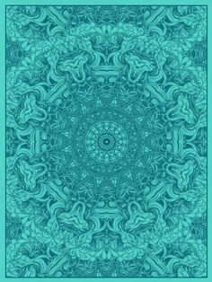 Mandala print from Nate Duval - Turquoise, Aqua & sea glass blue Z Vert Turquoise, Shades Of Turquoise, Aqua Blue, Shades Of Blue, Turquoise Cottage, Turquoise Pattern, Peacock Blue, Mandalas Drawing, Fractals