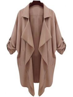 Long Sleeve Solid Color Trench Coat - Camel