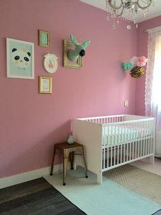 Babykamer meisje babyroom girl pink mint gold roze mint goud