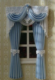 Miniature 1 12 Dollhouse Curtains Wide X 19 Cm Height