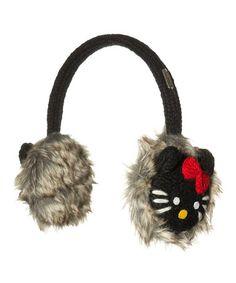Another great find on #zulily! Black Hello Kitty Wool Earmuffs #zulilyfinds