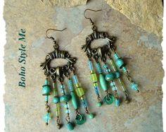 Boho Beaded Earrings, Long Chandelier Earrings, Colorful Beaded Earrings, Original Handmade, BohoStyleMe, Kaye Kraus