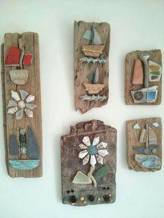 Driftwood art work. Sea side art by Philippa Komercharo.