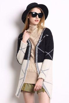 Ellady Color Block Jacquard Open Front Sweater Cardigan