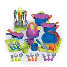 Color Fun Cookware. A great comprehensive set (although I'm not totally sold on going with plastic).