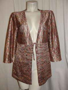 CHICOS Womens Cover-up 12/14 Brown Multi 3/4 Slv Tie-front Cardigan Sweater Sz 2 #Chicos #Cardigan