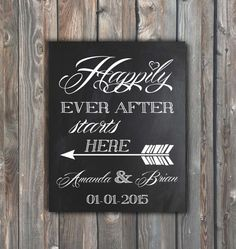 Wedding Chalkboard Sign–Happily Ever After Starts Here Sign-Personalized Wedding Sign–Custom Sign-Chalkboard 8x10–Wedding Ceremony Sign