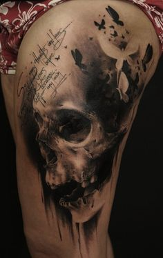 skull and butterflies by Florian Karg | tattoo artist – Bayern, Germany