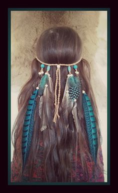 Hey, I found this really awesome Etsy listing at https://www.etsy.com/listing/222545712/turquoise-princess-2-feather-headband