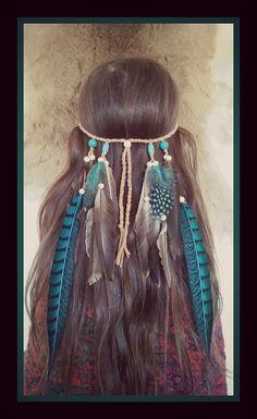 Türkis Prinzessin Feder Stirnband  -----------------------------------------------------------  Elegante Türkis und grau / schwarz Federn