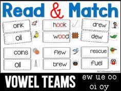 Read and Match Vowel Teams oi oy oo ew ue