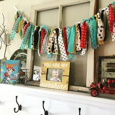 Puppy fabric garland for our Paw Patrol Party by Artistic Whimsy Paw Patrol Theme Party, Paw Patrol Birthday, 5th Birthday, Birthday Parties, Fabric Garland, Party Themes, Kitty, Puppies, Holiday Decor