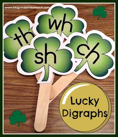 FREE printable for creating your own St. Patrick's Day themed digraph sticks.  Great for small group instruction.