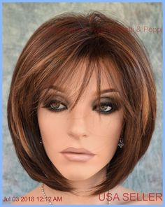 """""""cameron"""" rene of paris hi fashion wig coffee latte classy bob style Bob Hairstyles For Fine Hair, Haircuts With Bangs, Trending Hairstyles, Hairstyles Haircuts, Bob Haircuts, Medium Hairstyles, Popular Hairstyles, Pretty Hairstyles, Layered Haircuts For Medium Hair"""