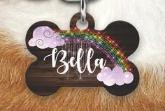 Rainbow Pet Tag, Girly Pet Tag, Faux Wood Pet Tag, Double sided Pet tag, Pet ID Tag, Dog Tag, Personalized Dog Tag,  Dog Tags For Dogs by MysticCustomDesignCo on Etsy