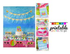 Personalized Pool Party or Beach Party Printable Party Set