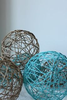 Yarn Ball Tutorial. This one is really helpful. Has a bowl made of yarn and the paper mâché recipie, too.