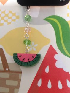 Watermelon Cellphone Charm, dust plug accessories, headphone jack charm, iPad, iPhone, mini iPad charm, galaxy S3 , S4 and note pad charms. on Etsy, $6.00
