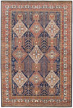 Geometric Oriental Rug Gallery Bakshaish Design Hand Knotted In Afghanistan Size