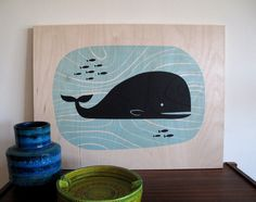 Original description: gotta love luludee's silkscreen prints on plywood. / My thoughts: Ha! It's the Fail Whale.
