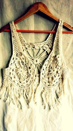 Boho crochet waistcoat, festival wear, vintage crochet fringed lace vest, sleeveless tank,hippy top