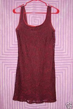 Sz 5 City Triangels Mini Dress Burgundy Lace Sleeveless Scoop Neck Back Lined