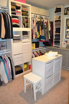 The IKEA Kallax collection Storage furniture is an essential part of any home. Stylish and delightfully simple the ledge Kallax from Ikea , for example. Ikea Closet Hack, Ikea Closet Organizer, Closet Hacks, Closet Organization, Organization Ideas, Organizing, Closet Redo, Storage Ideas, Closet Ideas