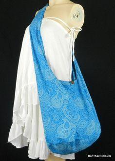 Cotton Hippie Hobo Sling Crossbody Bag Messenger Purse Paisley XL in Turquoise - $18 includes shipping -Etsy