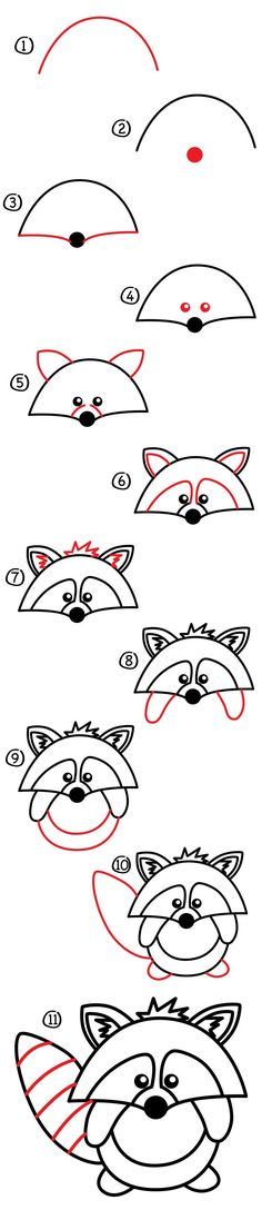 Heres a cute little guy how to draw a raccoon! This one is easy but still fun even for those parents and teachers that like to draw along with their kids. Art Materials Pen pencil crayon or marker Paper Watch How To Draw A Raccoon Cartoon Kunst, Cartoon Drawings, Cartoon Art, Animal Drawings, Doodle Drawings, Easy Drawings, Doodle Art, Drawing Lessons, Art Lessons