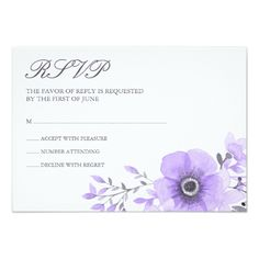 Purple and Gray Watercolor Floral Wedding RSVP Card