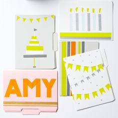 file folder and masking tape birthday cards--perfect for office birthdays!
