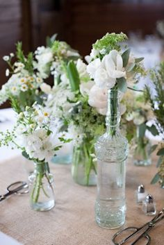 #simple #flower #bottles #white #green