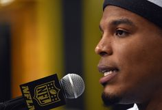 Cam Newton #1 of the Carolina Panthers addresses the media at Super Bowl Opening Night Fueled by Gatorade at SAP Center on February 1, 2016